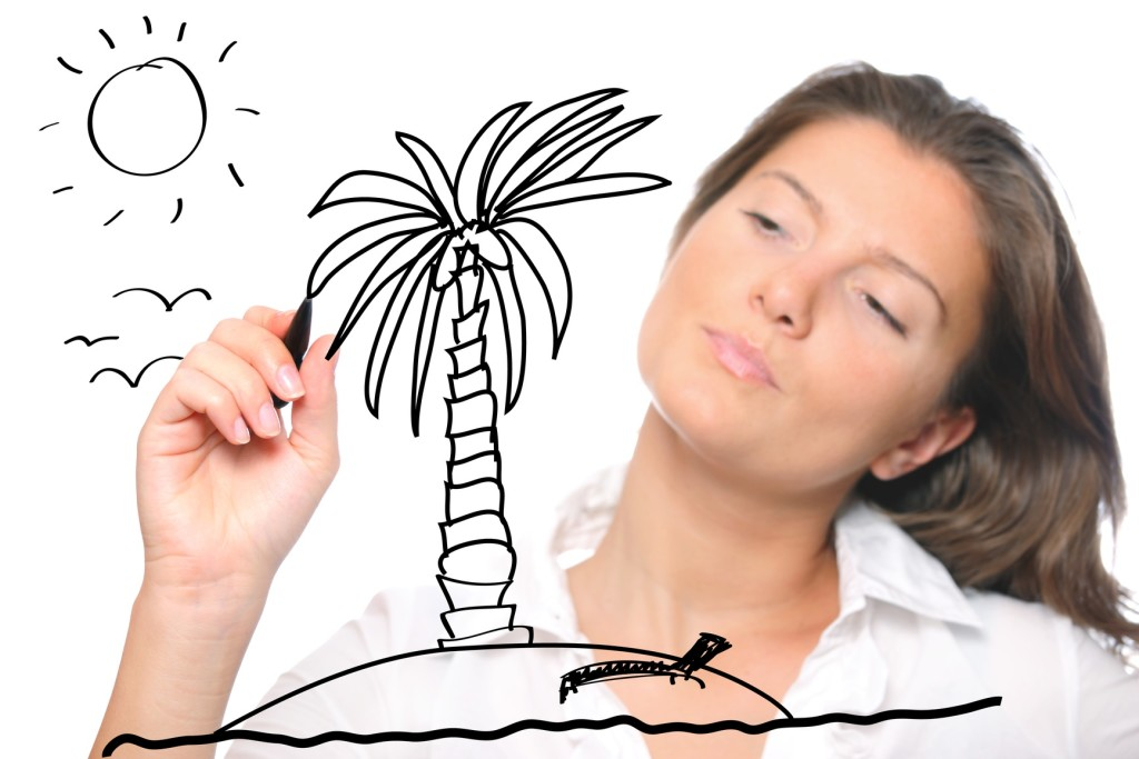 A young woman sketching her dreams of perfect holidays over white background